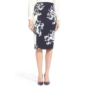 New ELLEN TRACY High Waisted Floral Pencil Skirt